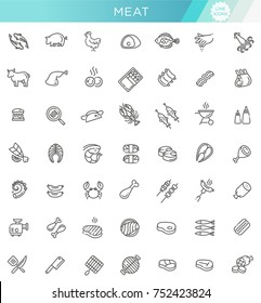 Simple Set of Meat Related Vector Line Icons