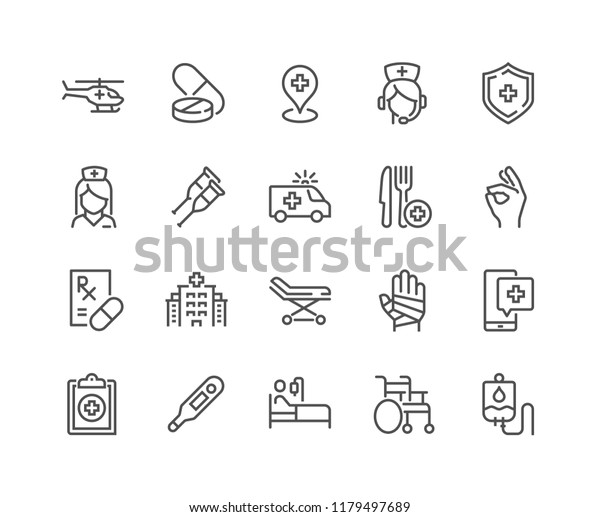 Simple Set of Medical Assistance Related Vector Line Icons. Contains such Icons as Wheelchair, Special Diet, Hospital Locator and more. Editable Stroke. 48x48 Pixel Perfect.