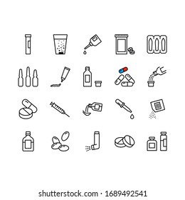 Simple Set of Medical Drugs Related Vector Line Icons. Medicines Pharmaceuticals in different packages. Contains such Icons as Inhaler, Pillo syringe, bottle, ointment and more. Editable Stroke.