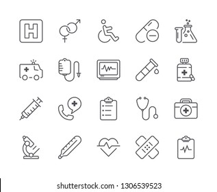 Simple Set of Medical Line Icon. Editable Stroke