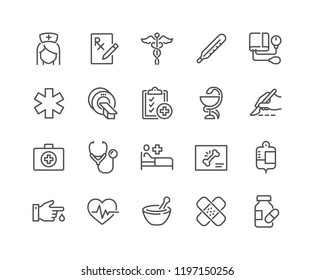 Simple Set of Medical Related Vector Line Icons. Contains such Icons as MRI, Prescription, Surgery and more. Editable Stroke. 48x48 Pixel Perfect.