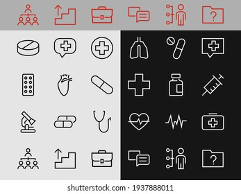 A simple set of medicine ICONS, contains medicine icons, pills, related vector line icons. thin lines, pain, syringe, lungs, microscope, cardiogram, virus and much more. Editable stroke