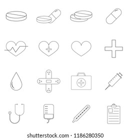Simple Set of of Medicine Vector Line Icons.  Editable Stroke. 32x32 Pixel Perfect.