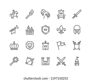 Simple Set of Medieval Related Vector Line Icons. Contains such Icons as Knight, Castle, Crown and more.\nEditable Stroke. 48x48 Pixel Perfect.
