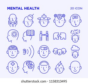 Simple Set of Mental Health. Vector Line Icons. Editable Stroke.