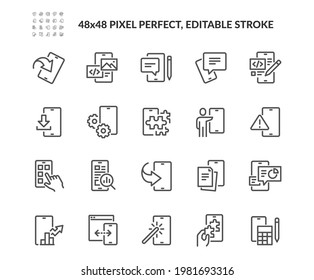 Simple Set of Mobile Apps Related Vector Line Icons. Contains such Icons as Component, Analytics, Coding and more. Editable Stroke. 48x48 Pixel Perfect.