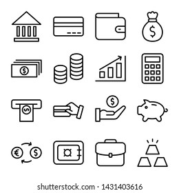 Simple set of money and banking related vector line icon. Editable stroke