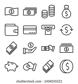 Simple set of money and finance related vector line icons. Coin, money bag, piggy bank, wallet and more. Editable stroke
