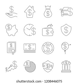 Simple Set of Money Related Vector Line Icons. Thin line vector icon set - dollar, credit card, wallet, cash, money bag, piggy bank, investment, stack, check, receipt, shield. Editable Stroke