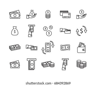 Simple Set of Money Related Vector Line Icons. Contains such Icons as Wallet, ATM, Bundle of Money, Hand with a Coin, Exchange, Money transfer and more.