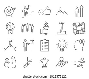 Simple Set of Motivation Related Vector Line Icons. Contains such Icons as winner, goal, strategy, success, growth, career, commitment, enthusiasm, ambition and more.