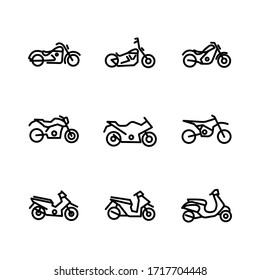 Simple set of motorcycle related line icons for web and mobile app