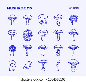 Simple set of mushrooms vector line icons
