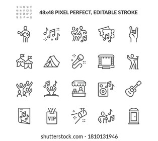Simple Set of Music Festival Related Vector Line Icons. Contains such Icons as Singer, Stage, Happy People in Crowd and more. Editable Stroke. 48x48 Pixel Perfect.