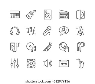 Simple Set of Music Related Vector Line Icons.  Contains such Icons as Guitar, Treble Clef, In-ear Headphones, Trumpet and more. Editable Stroke. 48x48 Pixel Perfect.