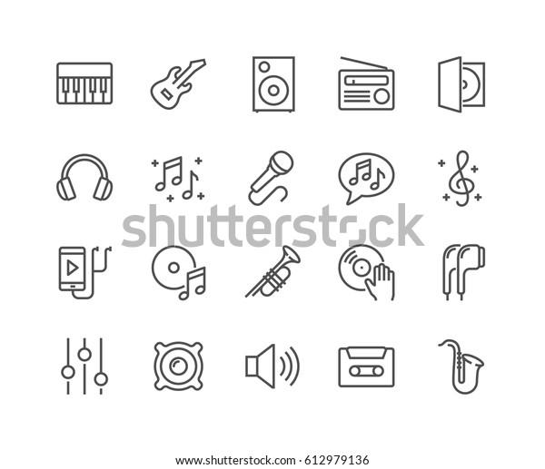 Простой набор музыкальных связанных векторных линий иконок.  Содержит такие иконки, как гитара, Treble Clef, наушники-вкладыши, труба и многое другое. Редактируемый ход. 48x48 пикселей идеально.