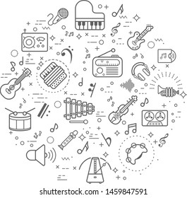 Simple Set of music and sound Related Vector Line Illustration. Contains such Icons as musical note, guitar, radio and instrument and Other Elements.. Modern style line drawing and background color wh