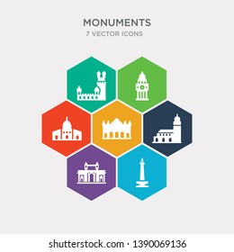 simple set of national monument monas, gateway of india, hassan mosque, alcala gate icons, contains such as icons dome of the rock, the clock tower, belem tower and more. 64x64 pixel perfect.