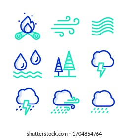 Simple Set of Nature Related Vector Line Colour Icons.