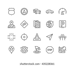 Simple Set of Navigation Related Vector Line Icons.  Contains such Icons as Map, Pin, Car, Road, Highway and more.  Editable Stroke. 48x48 Pixel Perfect.