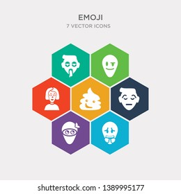 simple set of nervous emoji, ninja emoji, pensive emoji, poo icons, contains such as icons pouting proud puking and more. 64x64 pixel perfect. infographics vector