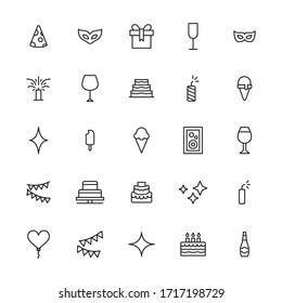 Simple set of night party modern thin line icons. Trendy design. Pack of stroke icons. Vector illustration isolated on a white background. Premium quality symbols.