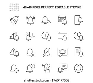 Simple Set of Notification Related Vector Line Icons. Contains such Icons as Mute, Notice, Notification Bell and more. Editable Stroke. 48x48 Pixel Perfect.