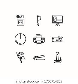 Simple Set of Office Elements Related Vector Line Icons
