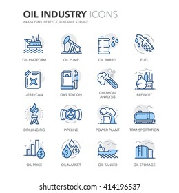 Simple Set of Oil Industry Related Color Vector Line Icons.  Contains such Icons as Jerrycan, Oil Tanker, Power Plant, Fuel, Gas Station, Oil Platform and more. Editable Stroke. 64x64 Pixel Perfect.