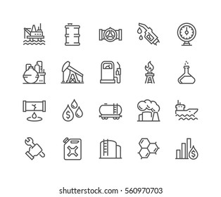 Simple Set of Oil Related Vector Line Icons.  Contains such Icons as Gas Station, Oil Factory, Transportation and more. Editable Stroke. 48x48 Pixel Perfect.