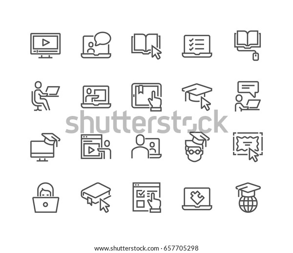 Simple Set of Online Education Related Vector Line Icons.  Contains such Icons as Video Tutorial, E-book, On-line Lecture, Education Plan and more. Editable Stroke. 48x48 Pixel Perfect.