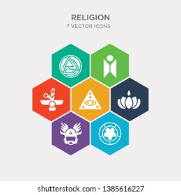 simple set of orthodox, occultism, odin, ayyavazhi icons, contains such as icons caodaism, faravahar, humanism and more. 64x64 pixel perfect. infographics vector