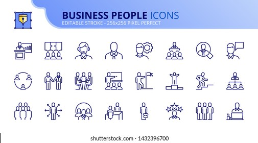 Simple set of outline icons about business people. Editable stroke. Vector - 256x256 pixel perfect.