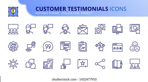 Simple set of outline icons about customer testimonials. Editable stroke. Vector - 256x256 pixel perfect.