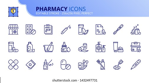 Simple set of outline icons about pharmacy. Editable stroke. Vector - 256x256 pixel perfect.