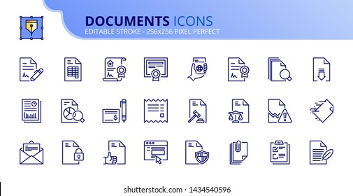 Simple set of outline icons about documents. Editable stroke. Vector - 256x256 pixel perfect.