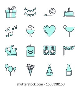 Simple Set Party icon template color editable. Party pack symbol vector sign isolated on white background illustration for graphic and web design.