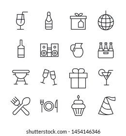 Simple set of party icons in trendy line style. Modern vector symbols, isolated on a white background. Linear pictogram pack. Line icons collection for web apps and mobile concept.