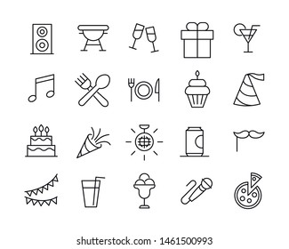 Simple set of party modern thin line icons. Trendy design. Pack of stroke icons. Vector illustration isolated on a white background. Premium quality symbols.