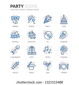 Simple Set of Party Related Vector Line Icons. Contains such Icons as Festival, Karaoke, Music and more.\nEditable Stroke. 64x64 Pixel Perfect.