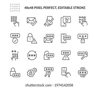 Simple Set of Password Related Vector Line Icons. Contains such Security Alert, Key, Autorization and more. Editable Stroke. 48x48 Pixel Perfect.