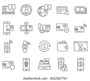 Simple Set of payment method Related Vector Line Icons. Contains such Icons as transfer, payment system, e-Commerce, electronic money, electronic purse, payment card, cash balance and more.