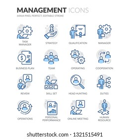 Simple Set of People Management Related Vector Line Icons. \nContains such Icons as Task Manager, Qualification, Head Hunting and more.\nEditable Stroke. 64x64 Pixel Perfect.