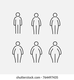 Simple Set of People Related Vector Line Icons. Different proportions of the body. Thick, thin, fat. Sizes of body.