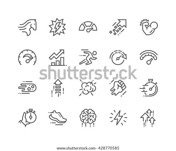 Einfache Set von leistungsbezogenen Vektorliniensymbolen.  Enthält Symbole wie Power, Speed, Graph, Sprint, Boost, Gehirn, Gain und mehr.   Bearbeitbarer Stroke. 48x48 Pixel perfekt.