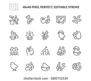 Simple Set of Personal Growth Related Vector Line Icons.  Contains such Icons as Newbie, Skill Improvement, Professional Burnout and more. Editable Stroke. 48x48 Pixel Perfect.
