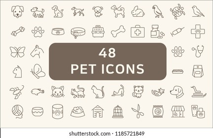 Simple Set of Pet Related Line Icons