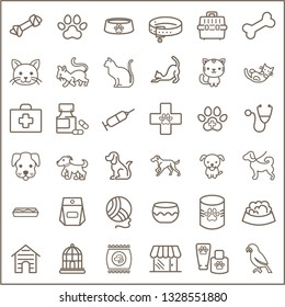 Simple Set of Pet Related Line Icons. Contains such Icons as dog , puppy, parrot, catling, cat, bone, paw print, pet collar And Other Elements. customize color, stroke width control , easy resize.
