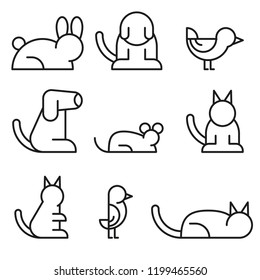 Simple Set of Pet Related Vector Line Icons. Contains such Icons as Dog, Hamster, Cat, Bird and rabbit.