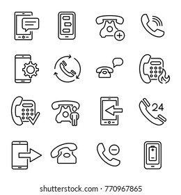 Simple set of phone related outline icons. Elements for mobile concept and web apps. Thin line vector icons for website design and development, app development. Premium pack.